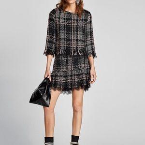 Zara Pink/Black Tweed Lace Trim Skirt sz XS